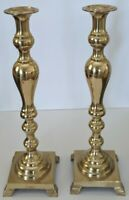 "Vintage Brass Footed Candlestick Holders Pair 17.5"" Tall"