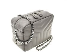 Saint Laurent LouLou Matelasse Chain Camera Crossbody Bag Grey New