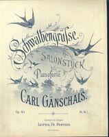 Carl Gänschals , Schwalbengrüße,  übergroße, alte Noten