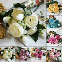 5 Heads Artificial Fake Peony Silk Flower Bridal Hydrangea Home Party Decor