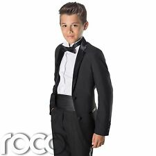 Boys Black Tuxedo with Cummerbund & Dickie Bow Tie, Age 12 months - 13 years