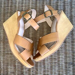 $158 Madewell Women 9.5 M Brown Leather Wooden Wedge Heels Wylie Strappy Sandals
