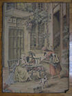 Beautiful antique European TAPESTRY people & dog in courtyard w/ woman guitarist