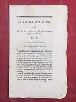 Rarissime Proclamation de l'assemblée Nationale 1789 Le Point du Jour N1 Sieyes