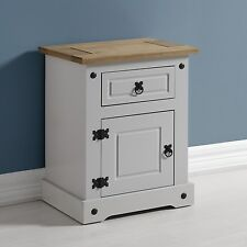 CORONA 1 Drawer 1 Door Bedside Cabinet in Grey and Distressed Waxed Pine
