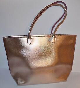 NEW BATH & BODY WORKS CHAMPAGNE GOLD BAG SHINY LARGE PURSE VIP HANDBAG SHOULDER