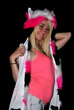Hot Pink Black and White Spirit Hood - Fuzzy Animal Hat With Pockets SOFT