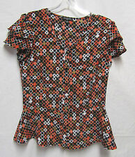 NOTATIONS top shirt Blouse PM 8/10P Bust 38 Black Multi-color Modern Print V-nec