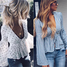 AU Womens Deep V-neck Front Tie Frill Flared Long Sleeve Tunic Tops Blouse Shirt