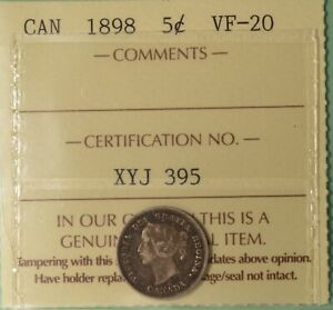 1898 Canada Silver 5 Cents  - Graded ICCS VF-20 -  Serial XYJ 395