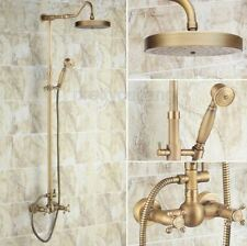 New listing Antique Brass Wall Mounted Bathroom Rain Shower Faucet Set Mixer Tap Prs132