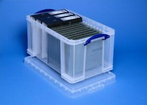 PACK OF 10 - Really Useful Boxes 48 Litre Van Garage Toy Clear Storage Box Lid