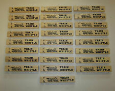 "25 NEW WOODEN TOY TRAIN WHISTLES 6"" WOOD LOCOMOTIVE RAILROAD CHOO CHOO WHISTLE"