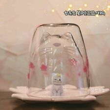 New China 2019 Starbucks Sakura 8oz Cute Pink Cat Double Wall Glass Mug