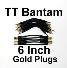 24 Pack - TT Bantam Black 6 Inch Gold Quad Patch Cables New Cords Snake Leads