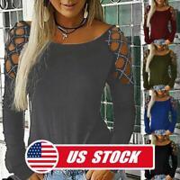 Women's Fashion Hollow Long Sleeve Loose T-Shirt Summer Casual Blouse Tops Tee