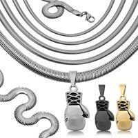 Edelstahl Kettenanhänger Boxhandschuh + Schlangenkette Halskette Sport Collier