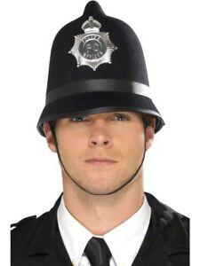 Police Hat London Bobby Traditional Black Felt With Badge Adults Fancy Dress