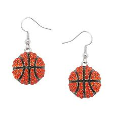 Basketball Fashionable Earrings - Fish Hook - Sparkling Crystal - Rhodium Plated