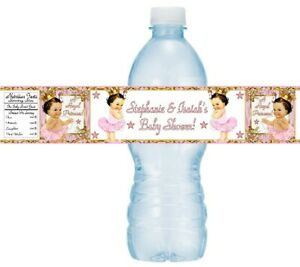 12 Princess Baby Shower Birthday Party Water Bottle Sticker Gold Pink Brown Hair
