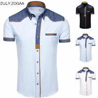 Camisa Elegante Para Hombres Moda Formal De Manga Corta De Mezclilla Casual Lujo