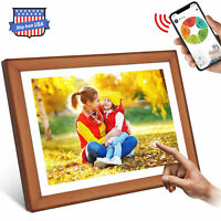 """10.1"""" Digital Photo Frame Wood WiFi Cloud Share Pictures/Videos Instantly 16GB"""