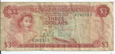Bahamas Government $3 1965 Issue Pick #19 Currency Bank Note 2 signatures #155