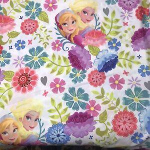 Disney Frozen Elsa Ana Twin Bed Size Flat Sheet Pink White DiY Fabric