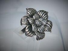 """Designer Look Sterling Silver 1 1/4"""" Rose Flower Ring Size 8"""