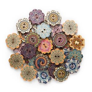 50pcs Wood Buttons Painted Flower Sewing Scrapbook Clothing Crafts Card 15-25mm
