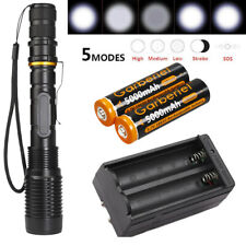 Military 99000LMS POLICE LED Flashlight 5modes T6 Light Torch Lamp+18650+Charger