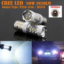 2x 80W White CREE Led 1156 BA15S P21W Car Backup Reverse Signal Light Canbus