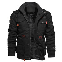 Fashion Mens Winter Fleece Warm Hooded Multi Pockets Casual Cotton Jacket New
