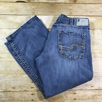 Silver ZAC Relaxed Fit Straight Leg Mens Distressed Jeans Size 40x30 (40x29)