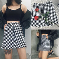 Fashion Women Summer Plaid High Waist Slim A-line Black White Zip Ladies Skirt U