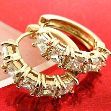 EARRINGS HOOPS HUGGIE REAL 18K ROSE G/F GOLD GENUINE DIAMOND SIMULATED DESIGN