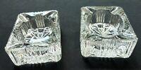 Vintage Set of 2 Mini Ashtray Brilliant Cut Mid Century Crystal Glass Rectangle