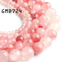 Wholesale Watermelon Red Jade Stone Round Loose Beads For Jewelry  4 6 8 10 12MM
