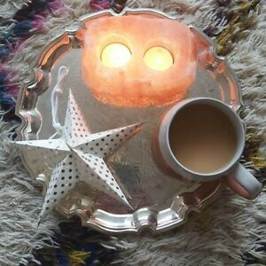 PINK HIMALAYAN ROCK SALT DOUBLE TEA LIGHT HOLDER CANDLE HOLDER BOHO BOHEMIAN