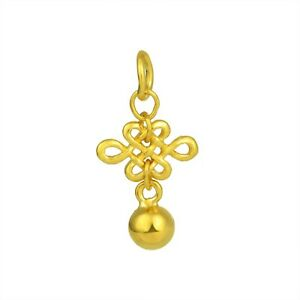 Real Solid 999 24k Yellow Gold Pendant Women Lucky Bowknot Ball 1.5-1.8g