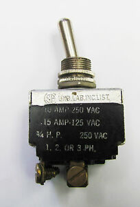 Carling HK25E-73 (On) Mom Off 3PST 15A 125VAC Screw Term 1, 2 or 3 Phase Toggle