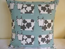 """16"""" CUSHION COVER SCANDI STYLE COUNTRY COTTAGE FARM COWS SHABBY DUCK EGG BLUE"""