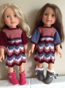 "Dolls Fashion clothes knitting  pattern. 18"" doll. Dress, bolero and bag.. KNM66"
