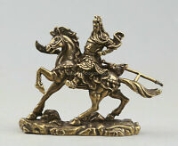 66MM Chinese Bronze Ride horse GuanYu Guan GongYu Warrior God Hold Sword Statue