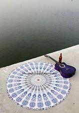 Round Indian Mandala Tapestry Beach Throw White Yoga Mat Boho Decor Table Cloth
