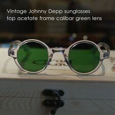 Round green sunglasses mens crystal clear johnny depp glasses calibar green lens
