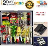 180 PCS Set Fishing Tackle Box Full loaded Accessories Hooks Lures + 2 free Tool