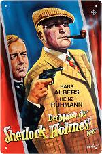 Blechschild Sherlock Holmes Film Albers Rührmann geprägt 20x30 Retro Vintage 320