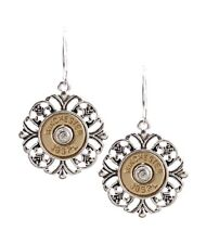 FAUX BULLET WINCHESTER 38 SPL SPECIAL EARRINGS SILVER GOLD TONE FILIGREE & ROUND