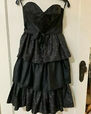 Vintage 1980s Janine Pimm Melbourne Black Polka Dot Ruffle Party Prom Dress 80s